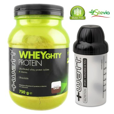 +WATT Wheyghty 750g Proteine del Siero del Latte Isolate con Vitamine + Shaker in vendita su Nutribay.it