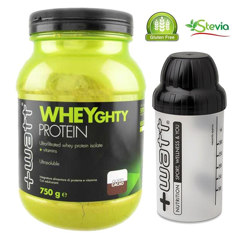 +WATT Wheyghty 750g Proteine del Siero del Latte Isolate con Vitamine + Shaker - PROTEINE in vendita su Nutribay.it