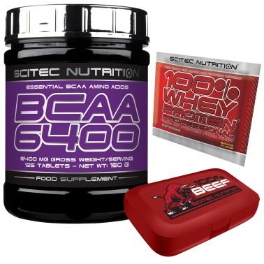 Scitec Nutrition BCAA 6400 Aminoacidi Ramificati 125cpr.+PORTAPILLOLE+WHEY 100% in vendita su Nutribay.it