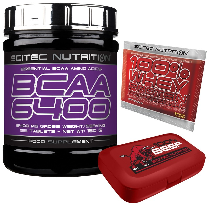 Scitec Nutrition BCAA 6400 Aminoacidi Ramificati 125cpr.+PORTAPILLOLE+WHEY 100% - AMINOACIDI BCAA in vendita su Nutribay.it