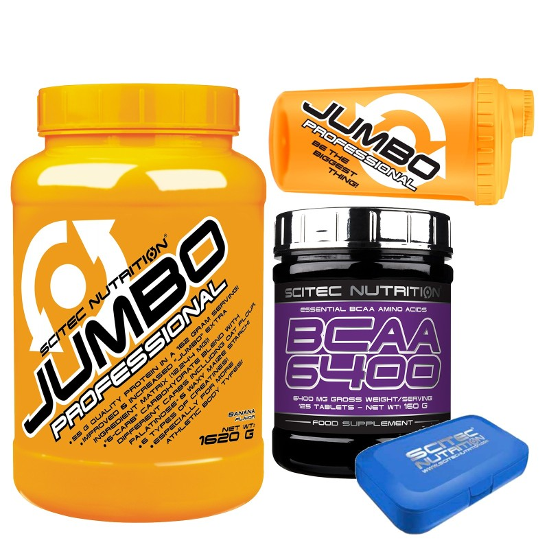 SCITEC JUMBO PROFESSIONAL 1620 GAINER PROTEINE CREATINA 125 AMINOACIDI BCAA 6400 in vendita su Nutribay.it