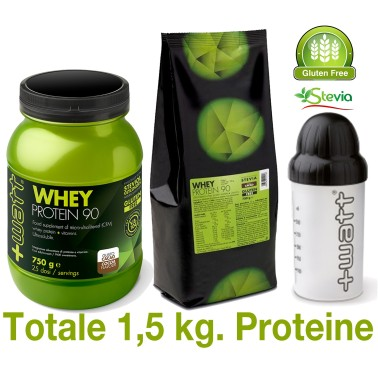 +WATT WHEY PROTEIN 90 2x 750 gr ( 1,5 kg.) PROTEINE DEL SIERO DEL LATTE ISOLATE - PROTEINE - in vendita su Nutribay.it
