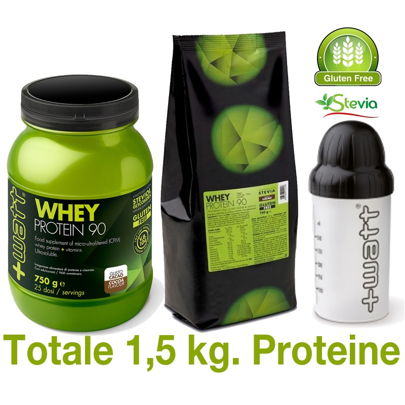 +WATT WHEY PROTEIN 90 2x 750 gr ( 1,5 kg.) PROTEINE DEL SIERO DEL LATTE ISOLATE in vendita su Nutribay.it