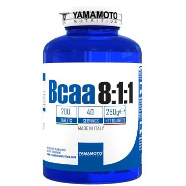 Bcaa 8:1:1 di YAMAMOTO NUTRITION con Vitamine B1 e B6 - 200 cpr - 40 dosi - AMINOACIDI BCAA 8.1.1 - in vendita su Nutribay.it