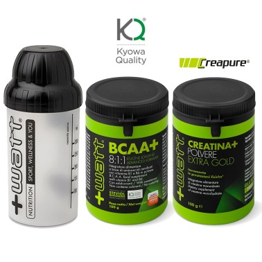 +WATT BCAA+ Aminoacidi Ramificati 8:1:1 KYOWA 811 100g + CREATINA GOLD E SHAKER in vendita su Nutribay.it