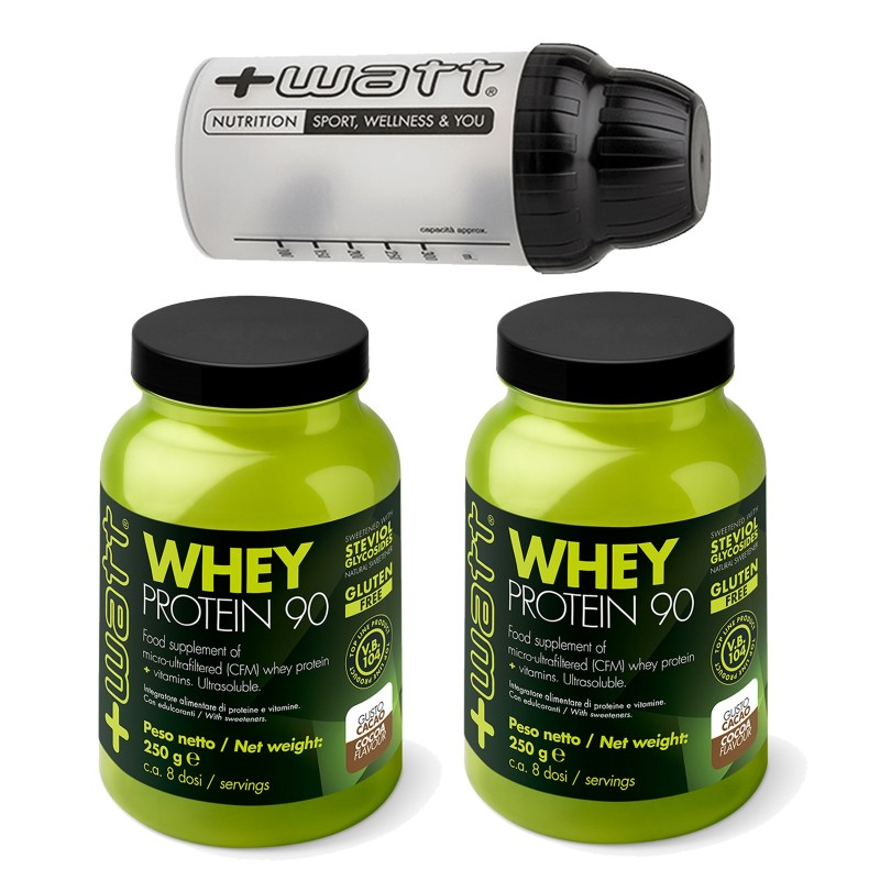 +WATT PROTEINE DEL SIERO DEL LATTE ISOLATE WHEY PROTEIN 90 2 x 250 gr. + SHAKER in vendita su Nutribay.it