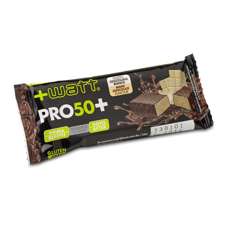 +Watt Pro 50+ Bar 24 barrette proteiche da 50 gr pasto sostitutivo con proteine in vendita su Nutribay.it