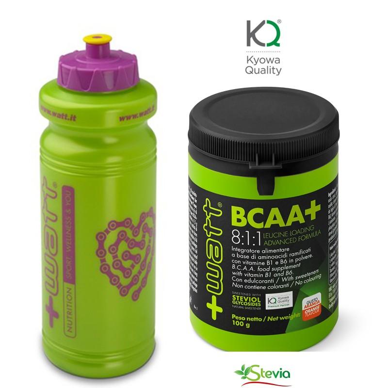 +WATT Ramificati BCAA + Leucina 8:1:1 KYOWA 100 gr. AMINOACIDI 811 + BORRACCIA in vendita su Nutribay.it