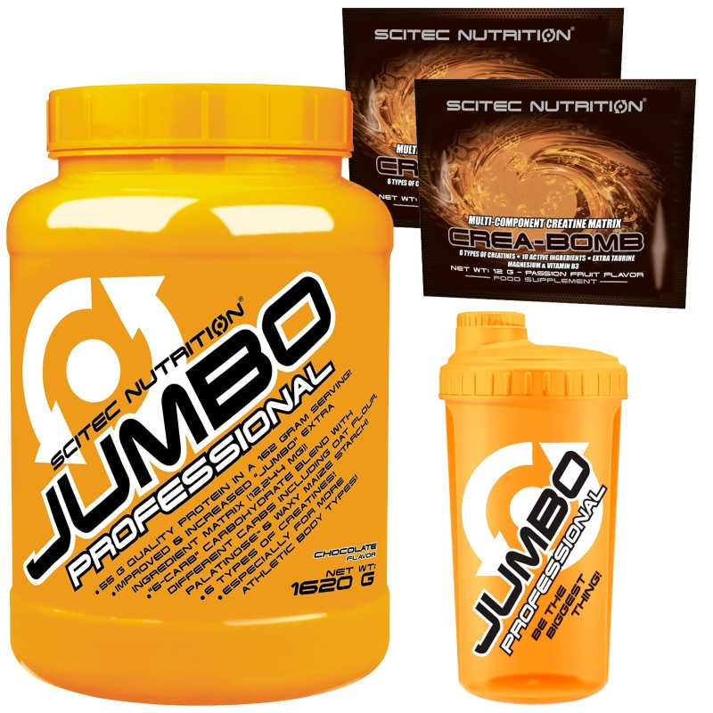 SCITEC JUMBO PROFESSIONAL 1620 MEGA MASS GAINER DI PROTEINE + CREATINA VITAMINE in vendita su Nutribay.it