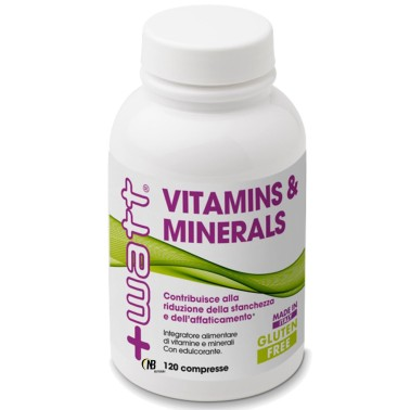 +WATT VITAMINS & MINERALS 120cpr -MULTIVITAMINICO COMPLETO 100% VITAMINE in vendita su Nutribay.it