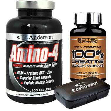 Anderson Amino 4 Complex 200 cpr Aminoacidi Ramificati BCAA + Creatina Scitec in vendita su Nutribay.it