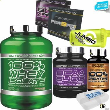 SCITEC 100% Whey Isolate 2000gr 2kg Proteine +375 AMINOACIDI BCAA 6400+ CREATINA