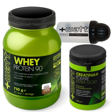 +WATT WHEY PROTEINE 90 750gr Proteine Isolate Del Siero + Creatina Extra +SHAKER in vendita su Nutribay.it