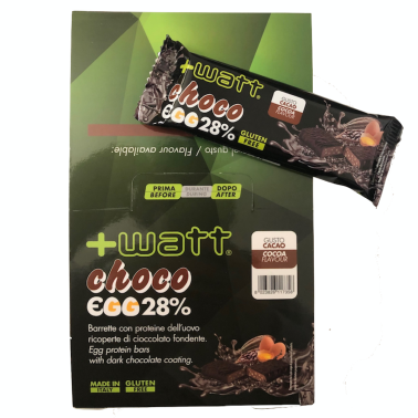 +WATT Choco Egg 28% 24 Barrette Proteiche da 40 gr con Proteine dell Uovo in vendita su Nutribay.it