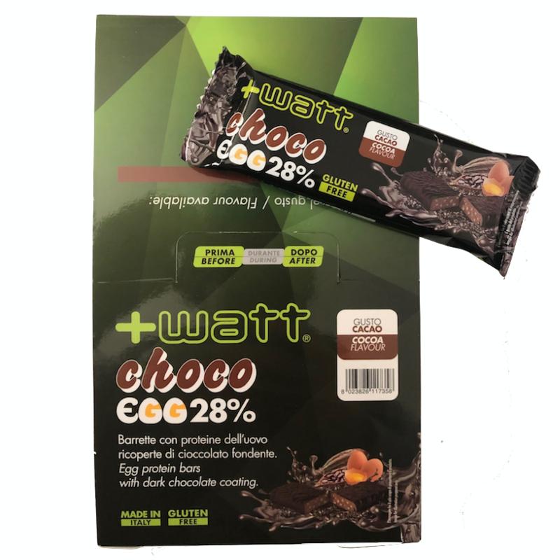+WATT Choco Egg 28% 24 Barrette Proteiche da 40 gr con Proteine dell Uovo in vendita su Nutribay.it