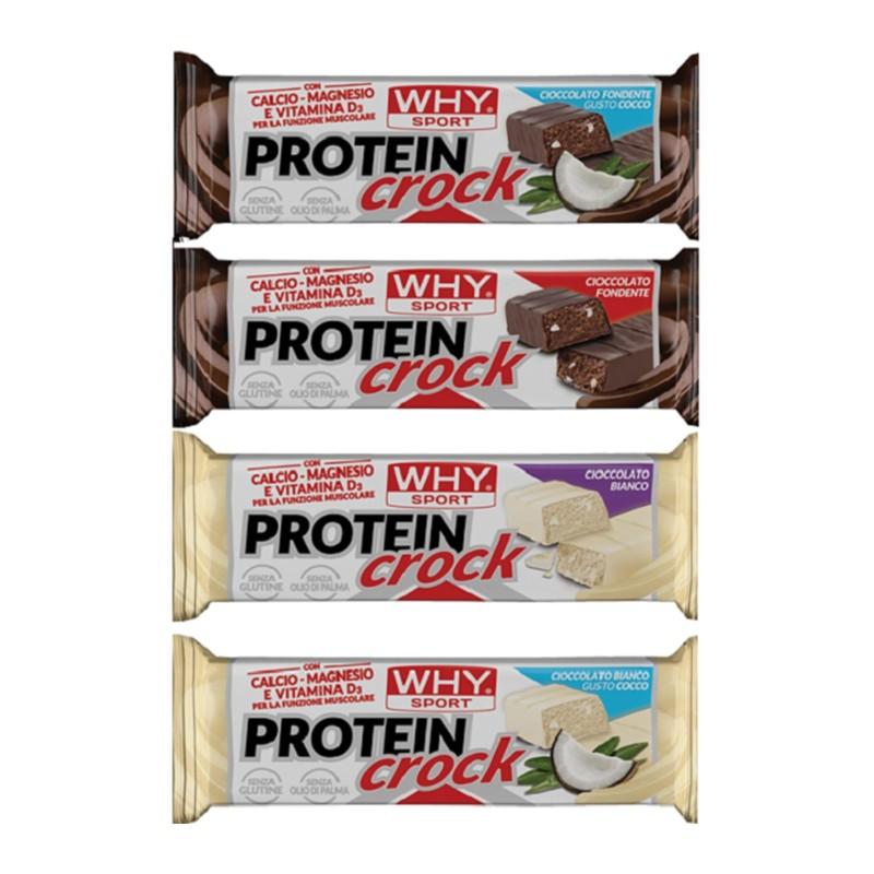 WHY SPORT Protein Crock Barrette Proteiche 4 gusti - 55 gr. - conf. 24 pz. - BARRETTE in vendita su Nutribay.it