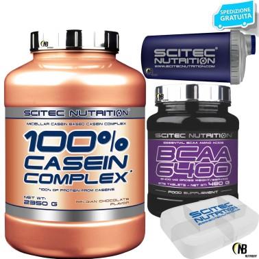 SCITEC 100% CASEIN COMPLEX 2350g PROTEINE CASEINE + 375 AMINOACIDI bcaa 6400