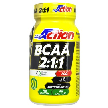 PROACTION Gold BCAA 2:1:1 200 cpr Aminoacidi ramificati Kyowa Carnitina e Vitamina b6 in vendita su Nutribay.it