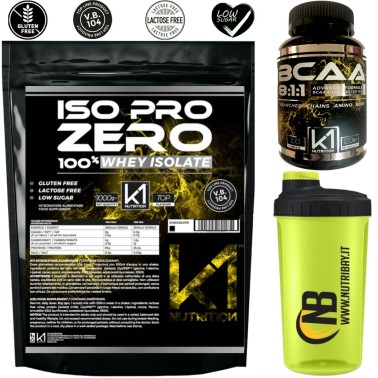 k1 Nutrition Iso Pro Zero 1 kg + 100 bcaa 8:1:1 + Shaker in vendita su Nutribay.it