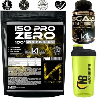 k1 Nutrition Iso Pro Zero 1 kg + 100 bcaa 8:1:1 + Shaker in vendita su Nutribay.it
