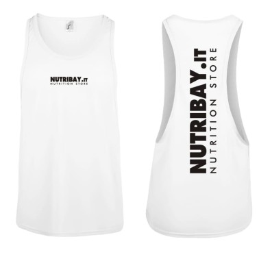 NUTRIBAY TOP TANK CANOTTIERA DA PALESTRA BIANCA in vendita su Nutribay.it
