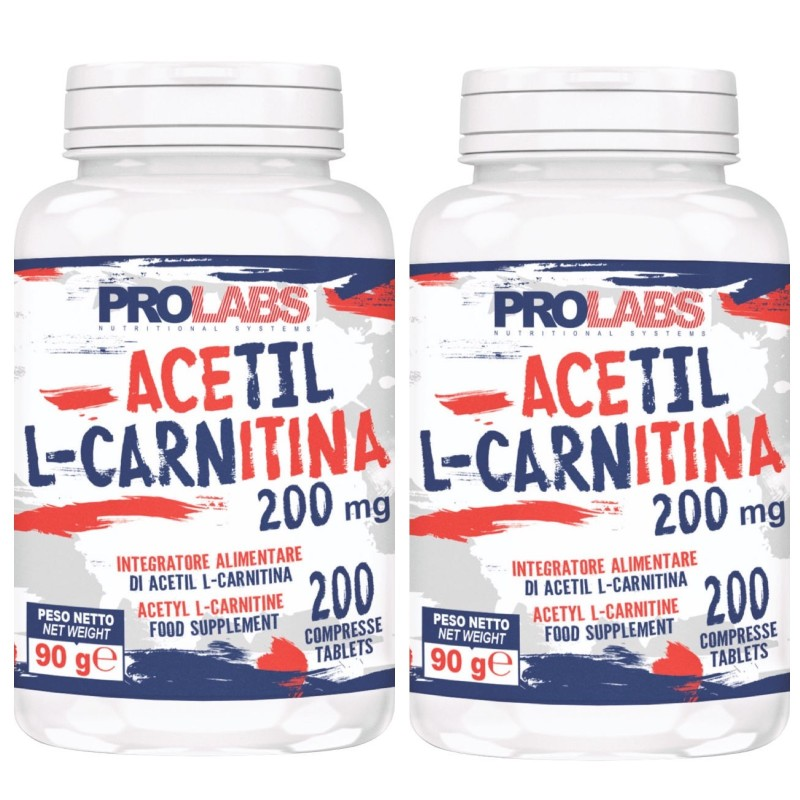 PROLABS Acetil L-Carnitina 2 X 200 cps ( 400 ) da 200 mg Carnitina Bruciagrassi in vendita su Nutribay.it