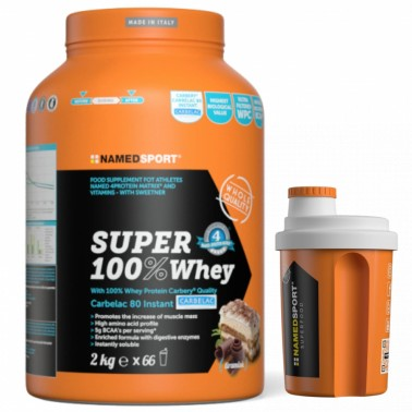 Named Super 100% Whey 2 Kg Proteine Del Siero del Latte Carbelac + SHAKER in vendita su Nutribay.it
