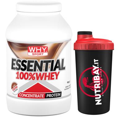 Why Sport 100% Essential Whey 900 gr Proteine Siero del Latte + SHAKER in vendita su Nutribay.it