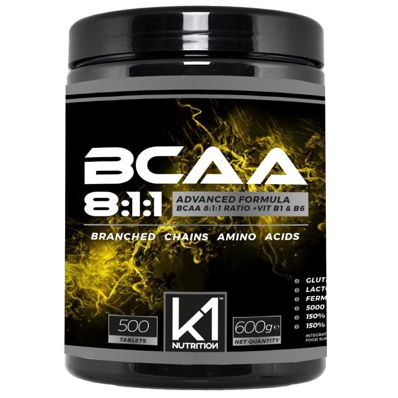 K1 Nutrition BCAA 8:1:1 500 cpr Aminoacidi Ramificati 811 con Vitamina B1 e B6 in vendita su Nutribay.it