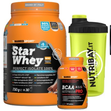 NAMED Sport STAR WHEY 750 gr PROTEINE 90% + bcaa extreme 4:1:1 110 cpr in vendita su Nutribay.it