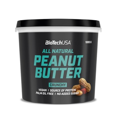 BIOTECH USA PEANUT BUTTER All Natural CRUNCHY 1 kg in vendita su Nutribay.it