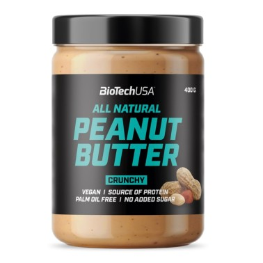 BIOTECH USA PEANUT BUTTER All Natural CRUNCHY 400 gr in vendita su Nutribay.it