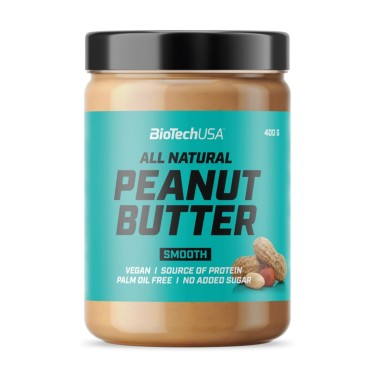 BIOTECH USA PEANUT BUTTER All Natural SMOOTH 400 gr in vendita su Nutribay.it