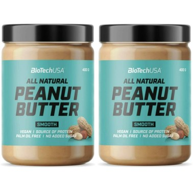 BIOTECH USA PEANUT BUTTER All Natural SMOOTH 2 x 400 gr ( 800 gr ) in vendita su Nutribay.it