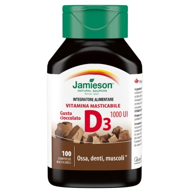 JAMIESON VITAMINA D3 MASTICABILE 100 cpr GUSTO CIOCCOLATO in vendita su Nutribay.it