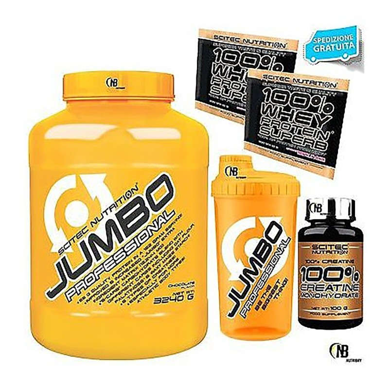 SCITEC JUMBO PROFESSIONAL 3240 GAINER MASSA PROTEINE CREATINA VITAMINE BCAA WHEY in vendita su Nutribay.it