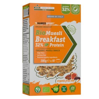 NAMED SPORT BIOMUESLI BREAKFAST 32% PROTEIN ORGANIC FRUIT MIX 200 g in vendita su Nutribay.it