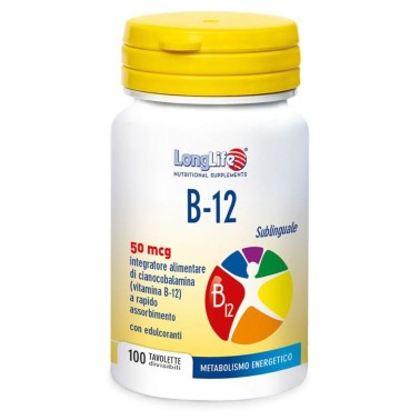 LONG LIFE B-12 SUBLINGUALE 50 mg 100 tav in vendita su Nutribay.it